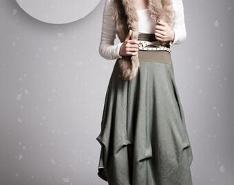 Long green skirt high waist skirt boho skirt flared skirt sage green skirt