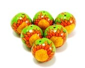 Polymer Clay Beads sun ethnic naive art yellow and green larger set of six