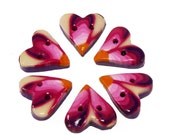 Polymer clay buttons tiny millefiori pink hearts set of six