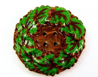 Polymer clay large decorative button forest green leaves
