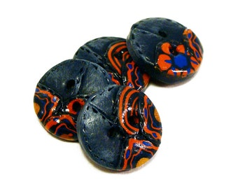 Polymer clay buttons worn 501 jeans imitations hippie sixties set of four