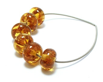 Lampwork cognac amber beads with starry sparkly goldstone aventurine glass chips set of six
