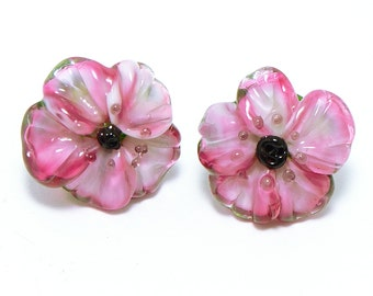 Glass shank buttons pair magenta pink Anemone flowers
