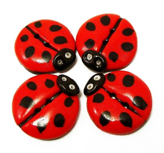 Polymer Clay Buttons ladybug red black polka dot flat  set of four