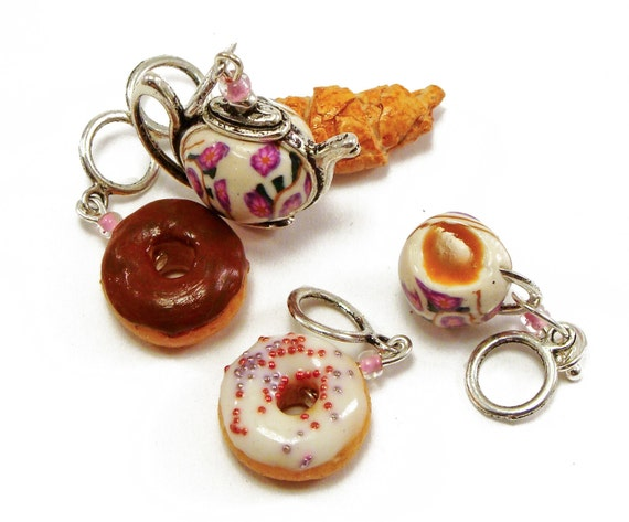 Knitting stitch markers no snag - Tea party handmade polymer clay