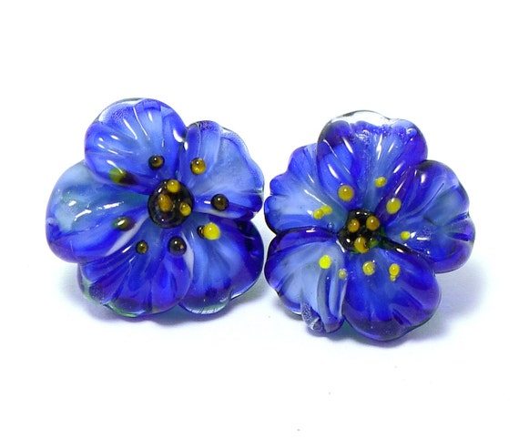 Glass shank buttons pair Blue Anemone flowers