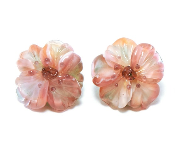 Glass shank buttons pair light pink Anemone flowers