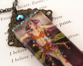 Beautiful Vintage Burlesque, Vaudeville, Showgirl Glass and Crystal Pendant Necklace, Belly Dance