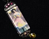 Beautiful Vintage Burlesque Dancer Glass and Crystal pendant Necklace..Showgirl, Saloon Girl, Can Can, Vaudeville