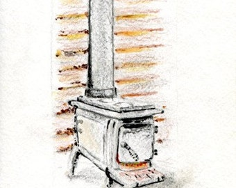 "original art notecard ""Cabin Stove"""