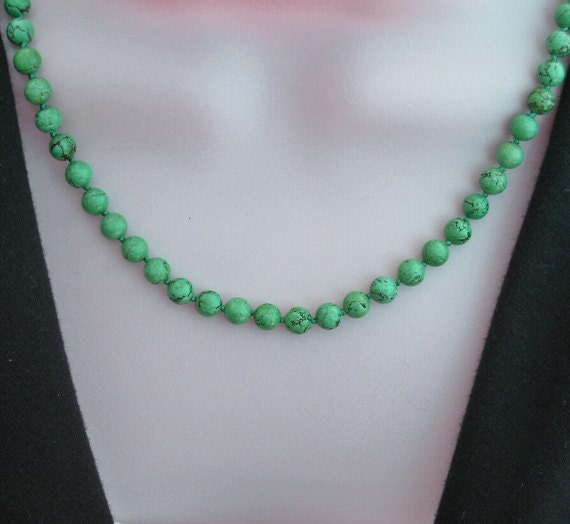 Hand knotted turquoise bead necklace, 19 inches (48.2cm) long, turquoise stone beads, turquoise stone jewelry