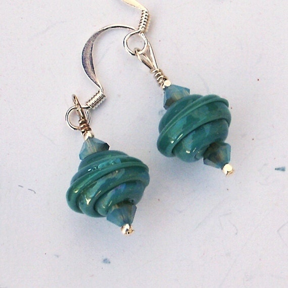 Jade green glass drop earrings, handmade green glass beads with crystals