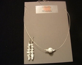 White Resin Beaded Necklace and Earring Set