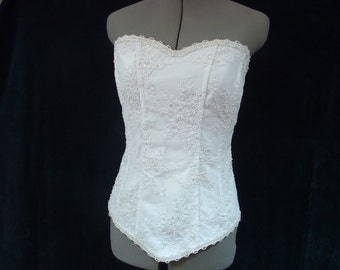 White Bridal Corset - Beaded Lace