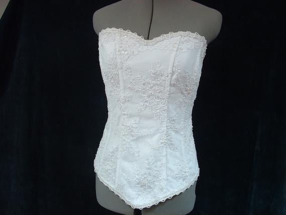 White Bridal Corset - Beaded Lace