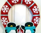 Welcome Penguins Christmas Wreath -- Red White Aqua Blue