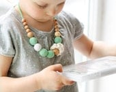 Mint Girls Necklace - Kids Jewelry - totally natural and safe for toddlers through preteens