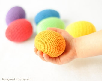 Crochet Wooden Easter Eggs - Rainbow - Montessori Toy, Waldorf Toy - set of 6