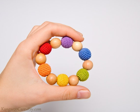 Crochet Baby Teething Toy / Wooden Teething Ring - wood and cotton - rainbow