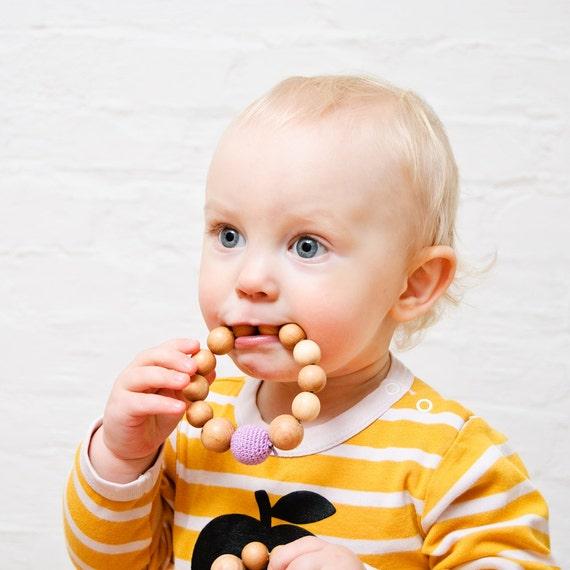 Beaded Wood Teether, Teething Ring, Wooden Teething Toy for Baby