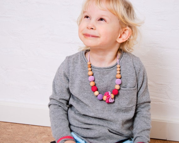 Girls Necklace - for toddlers through preteens - hot pink, lavender and purple
