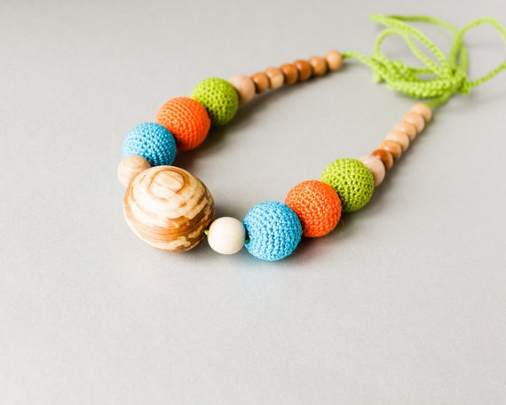 Bright Nursing Necklace with a big mountain ash wood bead and crochet beads