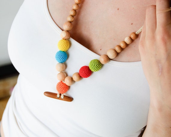 Bright Crochet Bead Nursing Necklace / Teething Necklace with an apple wood button