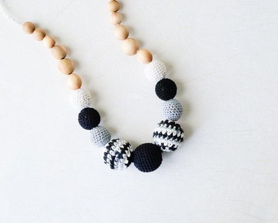 Zebra Stripes Nursing Necklace by KangarooCare - black, white and light grey