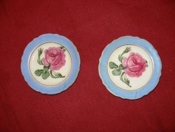 REDUCED Vintage Butter Pat Plates, Blue with Pink Roses Set of 2