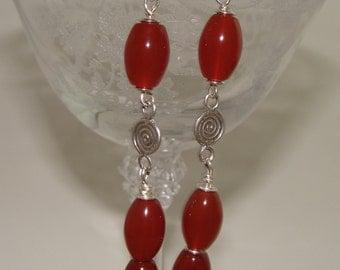 Carnelian and  Sterling Silver Earrings
