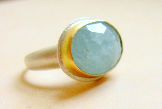 Aquamarine Ring - Oval Aquamarine in14k Gold Setting on a Silver Ring