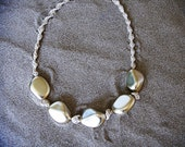 Macrame necklace. Gold beaded hemp necklace.