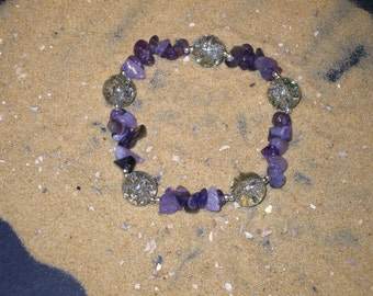 Amethyst Bracelet. Egyptian Jewelry. February birthday. Aquarius.