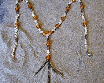 Macrame hemp necklace in Orange and copper.. Micro macrame hemp jewelry.