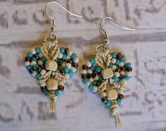 Micro macrame earrings in teal bronze and natural hemp.  Macrame jewelry.