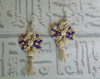 Micro Macrame earrings in purple and hemp.