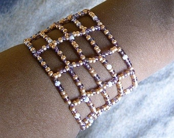 Egyptian beaded  cuff bracelet.  Egyptian Jewelry.