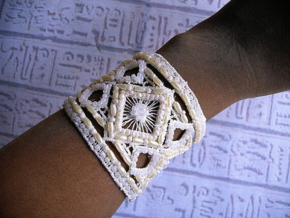 Wedding Bridal Cuff bracelet. Beaded lace cuff bracelet hand Embroidered wedding jewelry.