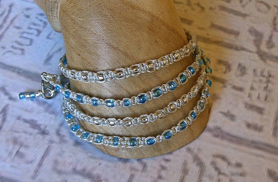 Wrap bracelet in turquoise and silver.