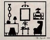 Clip Art Designs Transfer Digital File Vintage Download DIY Scrapbook Shabby Chic Pillow Silhouette Doll House Living Room Paris No. 0338