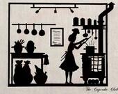 Clip Art Designs Transfer Digital File Vintage Download DIY Scrapbook Shabby Chic French Kitchen Menu Silhouette Woman Paris No. 0346