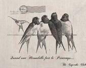 Clip Art Designs Transfer Digital File Vintage Download DIY Scrapbook Shabby Chic Retro Old Swallow Bird Spring French Stamp Letter No. 0249