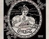 Clip Art Designs Transfer Digital File Vintage Download DIY Scrapbook Shabby Chic Old Retro Coca Cola Label 1900 refreshing Soda No. 0222