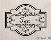 Clip Art Designs Transfer Digital File Vintage Download Shabby Chic DIY Kitchen Tea Label Frame No. 0122