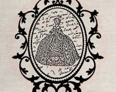 Clip Art Designs Transfer Digital File Vintage Download Shabby Chic DIY Nobility Marquise Duchess Poetry Ronsard Dress No. 0085