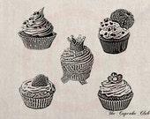 Clip Art Designs Transfer Digital File Vintage Download Shabby Chic DIY Set Cupcake Cream Crown Ribbon Birthday Muffin Pastry