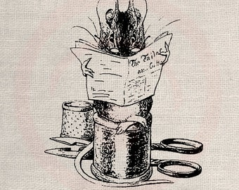 Clip Art Designs Transfer Digital File Vintage Download DIY Scrapbook Shabby Chic Pillow Black Beatrix Potter Mouse Tailer Reading No. 0321