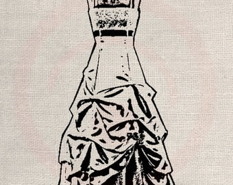 Clip Art Designs Transfer Digital File Vintage Download Ballroom Dress Wedding Bride No. 0030