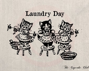 Clip Art Designs Transfer Digital File Vintage Download Shabby Chic DIY Cat Kitten Retro Laundry Day Kid No. 0112