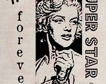 Clip Art Designs Transfer Digital File Vintage Download Shabby Chic DIY Marilyn Monroe Forever Super Star No. 0115